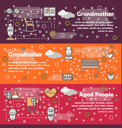 Thin line art aged people banner set vector