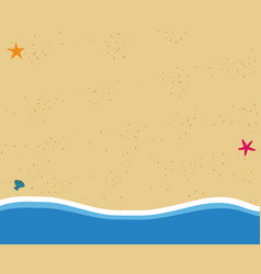 top view background of golden sandy beach in flat vector image