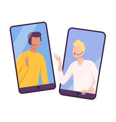 Two businessmen talking through smartphone screens vector