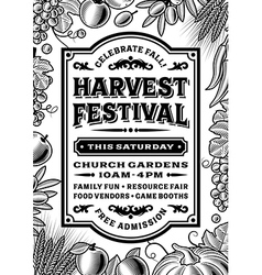 Vintage Harvest Festival Poster Black And White vector
