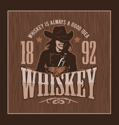 Vintage whiskey label with girl - t-shirt graphic vector