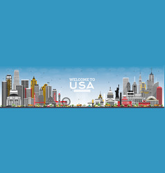 Welcome to usa skyline with gray buildings and vector
