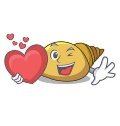 With heart mollusk shell mascot cartoon vector