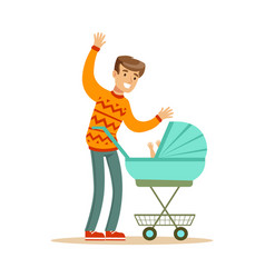 Young father walking with his newborn baby in a vector