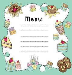 bakery doodle menu board vector image