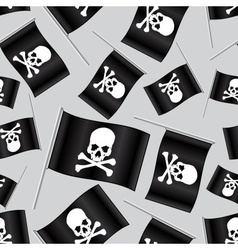 Black pirate flag with skull and bones pattern vector