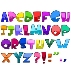bright cartoon alphabet vector image