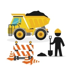 dump truck full barrier cone road and worker vector image