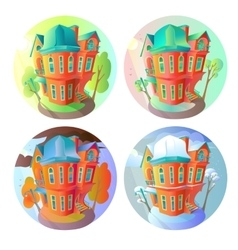 Bright volume icons of old houses in vector image vector image
