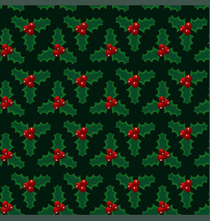 christmas red green mistletoe seamless pattern vector image