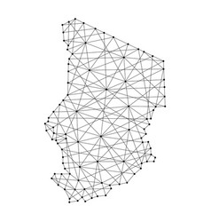 map of chad from polygonal black lines and dots vector image vector image
