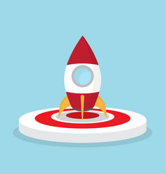 rocket on dart board startup concept vector image vector image