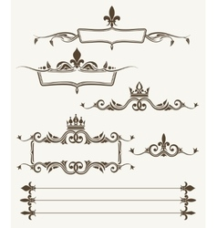 Royal crowns and fleur de lys ornate frames vector image
