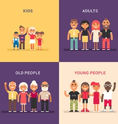 A set of four colored flat Kids adults old people vector image