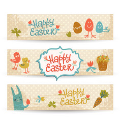 happy easter doodle banners set vector image vector image