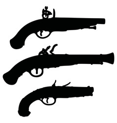Historical matchlock pistols vector image vector image
