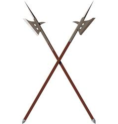 Two crossed battle halberds vector