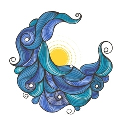 Ink doodle water waves with sun vector image