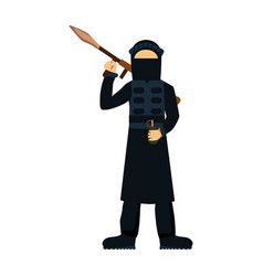 military terrorist soldier character weapon vector image
