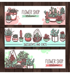 Succulents And Cacti Color Sketch Banners Design vector image