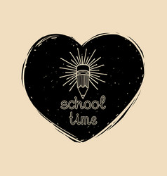 vintage school time badge in heart shape vector image vector image