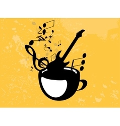 Abstract music background with notes and coffee vector image
