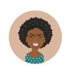Afro american angry woman facial expression vector