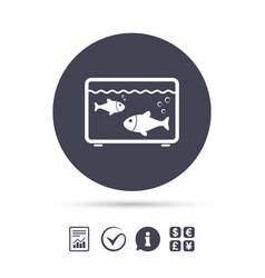 aquarium sign icon fish in water symbol vector image