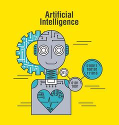 Artificial intelligence robot heartbeat health vector