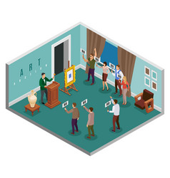 auction isometric concept vector image
