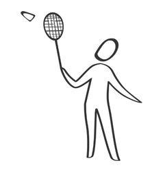 Badminton player sketch style vector image