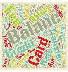 Balance Transfers Primer text background wordcloud vector image