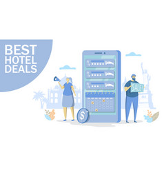 Best hotel deals concept for web banner vector