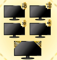 Black LCD TV icons vector image vector image