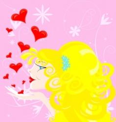 blonde girl vector image