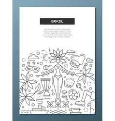 Brazil- line design brochure poster template A4 vector image