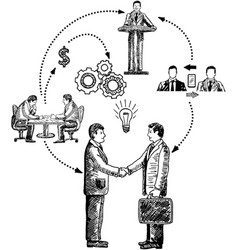 Business cooperation concept hand drawn vector