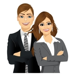 business people standing with arms folded vector image