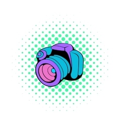 Camera icon in comics style vector image