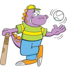 Cartoon dinosaur with baseball bat and baseball vector