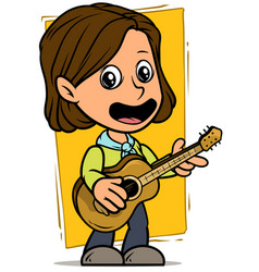 cartoon girl character with wooden acoustic guitar vector image