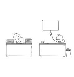 Cartoon hard working office worker or vector