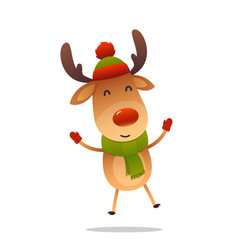 cheerful cartoon cute reindeer jumps isolated on vector image