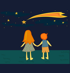 Children looking at a falling star vector