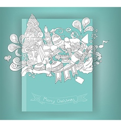 Christmas and doodles elements icon book vector image