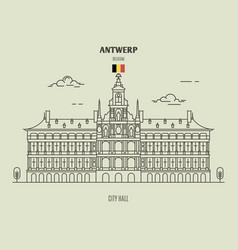 city hall in antwerp vector image