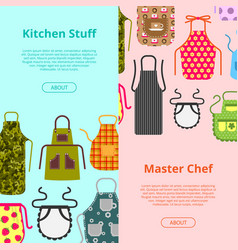Colorful kitchen aprons with patterns icons banner vector