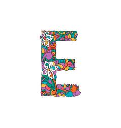 colorful ornamental alphabet letter e font vector image