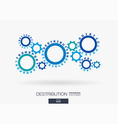 connected cogwheels logistic destribution vector image