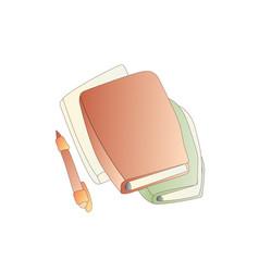 Cute cartoon book notebook diary and vector